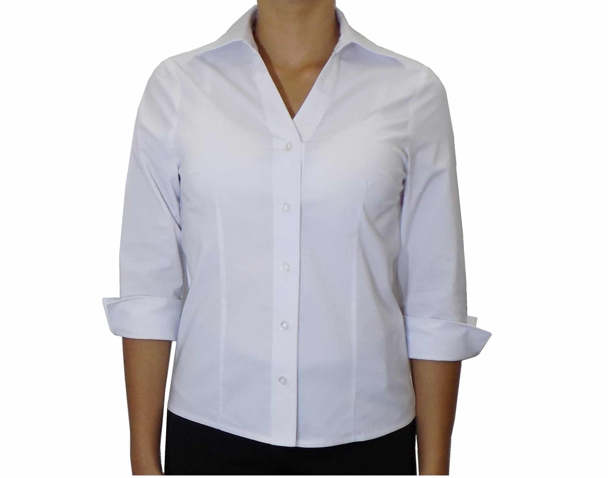 e99e37ba7 Camisa Social Feminina Botões Decote V manga 3 4Majoleh Uniformes ...