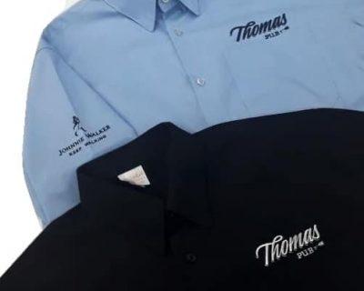 Camisas sociais feminina e masculina personalizadas com bordados